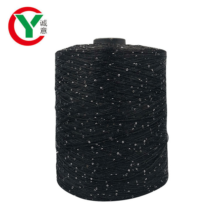 Eco-friendly 100 3mm Sequins Fancy Polyester Yarn For Machine Knitting