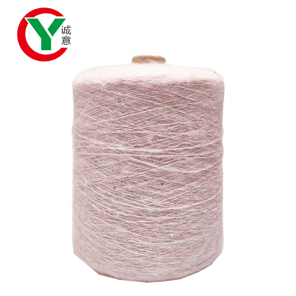 Manufacturers 1/14Nm acrylic polyester blended sequin yarn for hand knitting yarn