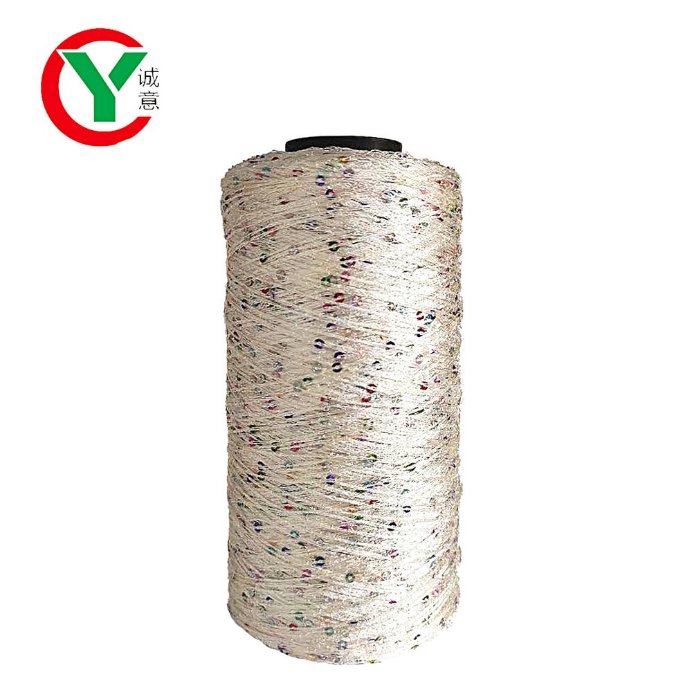2MM sequin yarn 100% polyester fancy yarn for hand knitting yarn