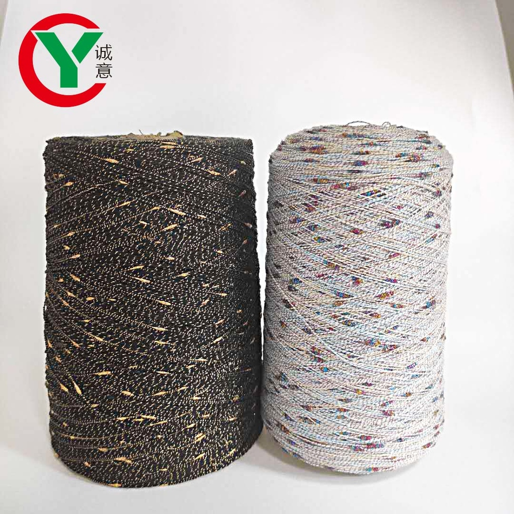 100%polyester colorful knot yarn with lurex for hand knitting