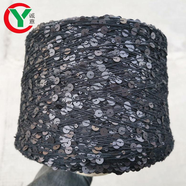 Hot sales in Russia popular 100%cotton with 3mm+6mm sequin for hand knitting