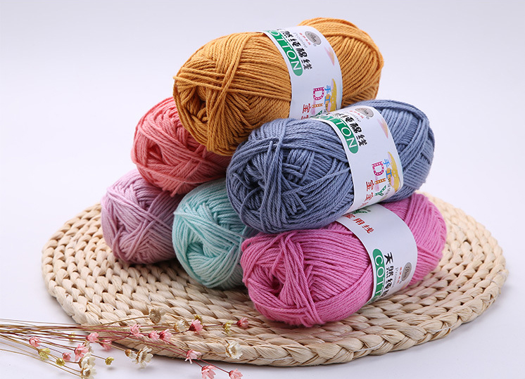 Cotton yarn Knitting Scarf Suitable for Woman Children / Natural milk cotton yarn
