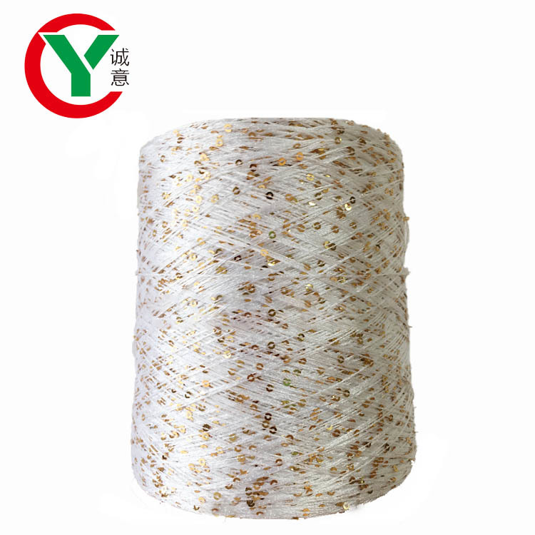 100% polyester 3 mm  sequin thread / factory direct sell high tenacity polyester  yarn for weaving
