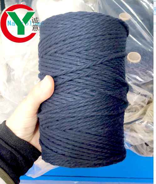 Factory wholesale strand twist 3mm macrame 100% cotton cord /4mm cotton macrame cord ready in shop