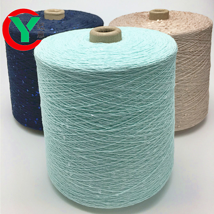 100% combed cotton fancy 3 mm transparent hand knitting yarn /2 mm cotton yarn with max sequin
