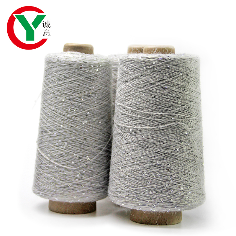 Instagram new product 20%angora through 2mm sequin fancy yarn for knitting cloth
