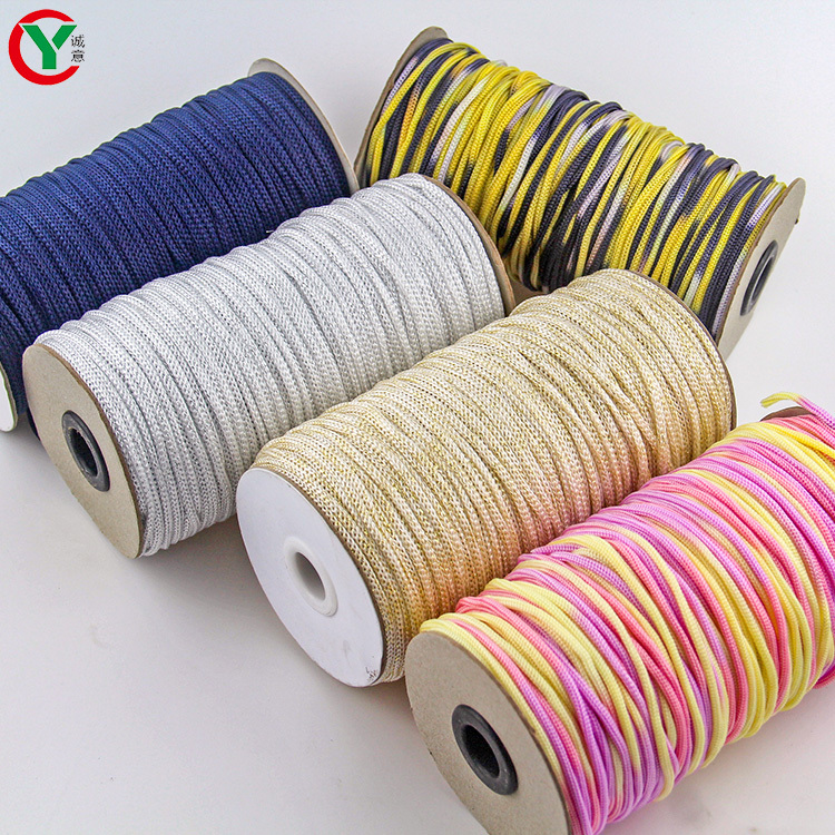 China manufacturer fancy colorful 100% polypropylene 3mm thread hollow yarn for knitting