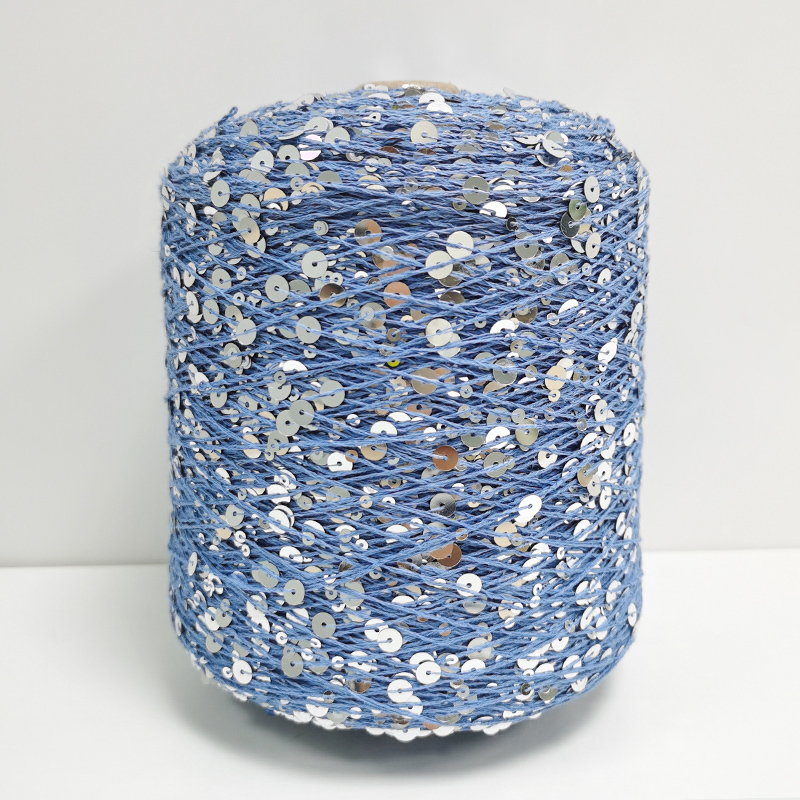 Wholesale Hot sale in Russia Multiple Colors Knitting Yarn With 3MM+6MM Sequin Yarn 100% Combed cotton Sequin Fancy Yarn