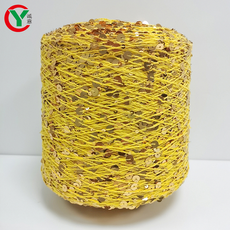 3MM+6MM Sequin Yarn 100% Combed Cotton Sequin Fancy Yarn
